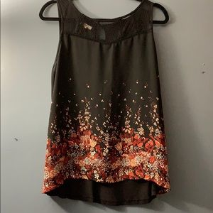 Maurices black floral tank dress top